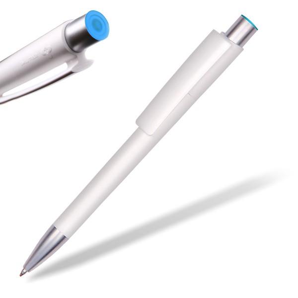 Kugelschreiber Delta Sport 806 weiß mit Applikation hellblau