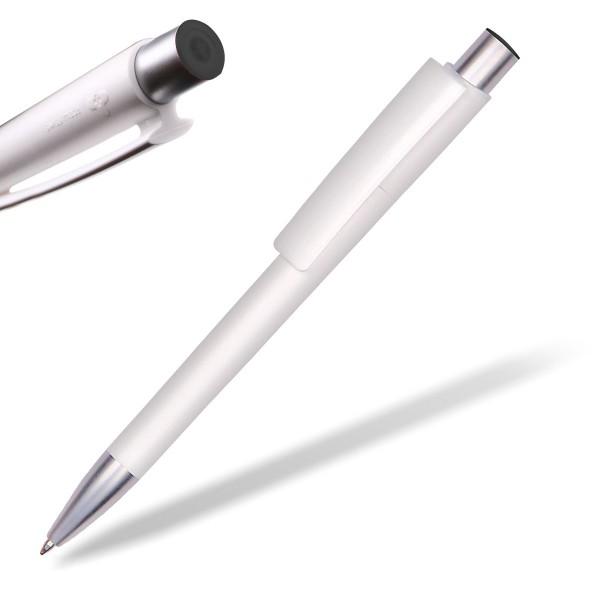 Kugelschreiber Delta Sport 806 weiß mit Applikation schwarz