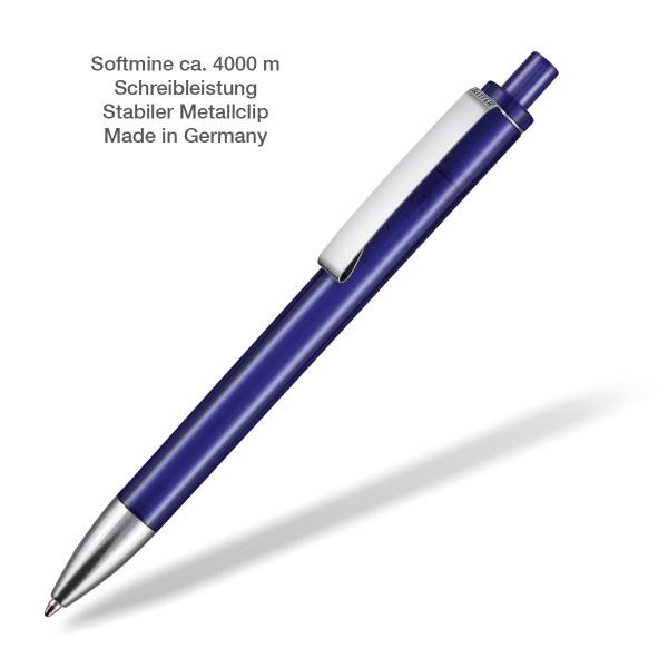 Kugelschreiber Exos transparent dunkelblau