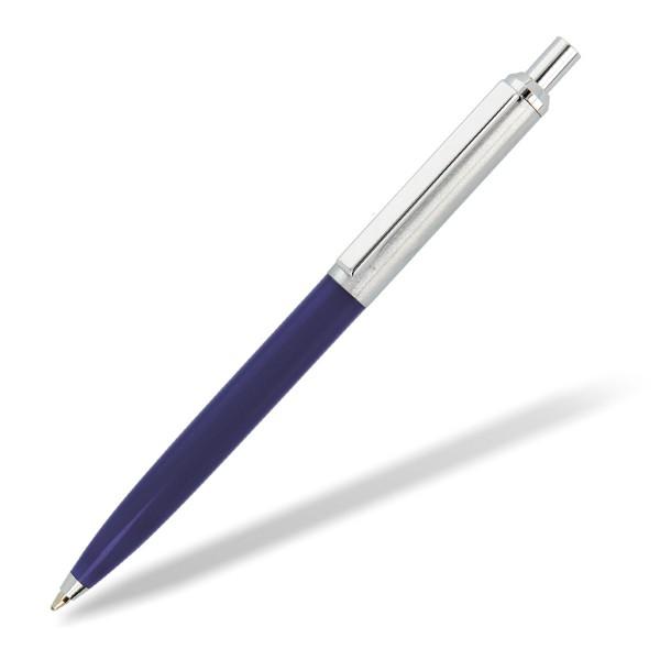schlanker Metallkugelschreiber Metreto Vorderteil blau