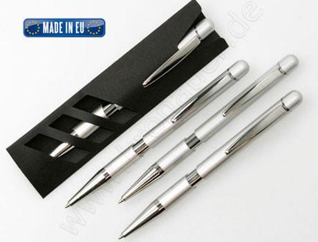 Druckkugelschreiber Torino silber mit Etui