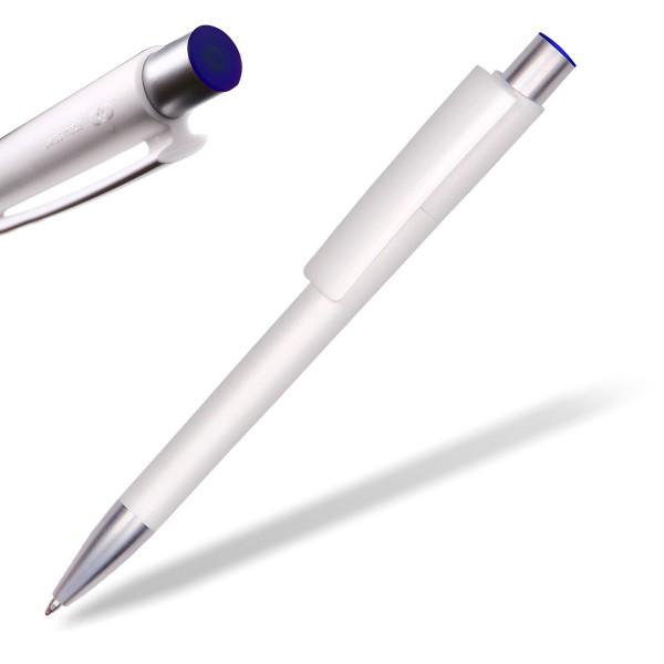 Kugelschreiber Delta Sport 806 weiß mit Applikation blau
