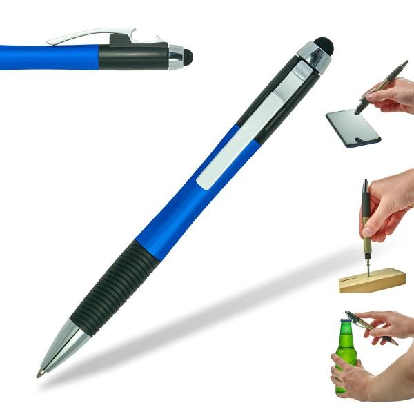 kugelschreiber-bottle-kapselheber-flaschenöffner-blau