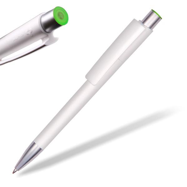 Kugelschreiber Delta Sport 806 weiß mit Applikation hellgrün