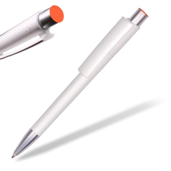 Kugelschreiber Delta Sport 806 weiß mit Applikation orange